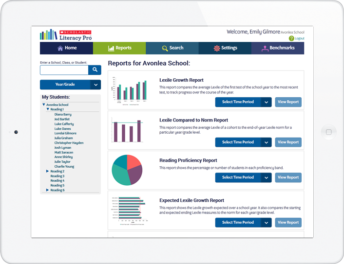 Reports for administrators with data at the school, year/grade, class or student level