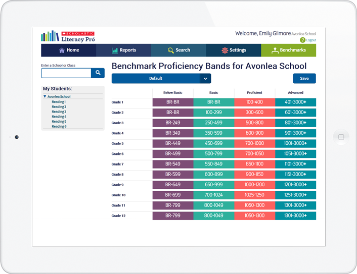 Set the benchmark proficiency bands for your school