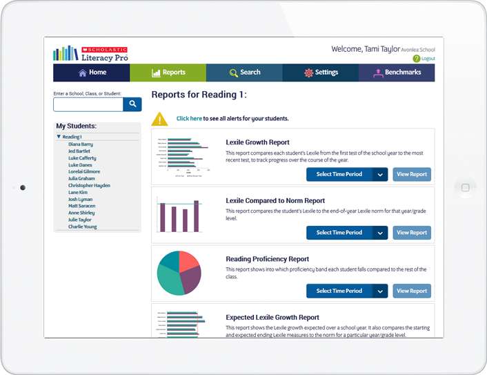 Reports for administrators with data at the year/grade, class or student level